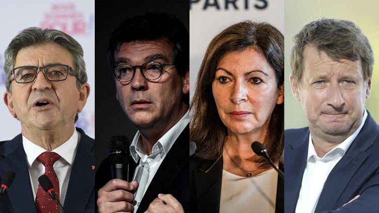 Jean-Luc Mélenchon, Arnaud Montebourg, Anne Hidalgo, Yannick Jadot. (AFP)