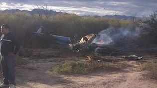 Un des deux hélicoptères qui se sont écrasés près deVilla Castelli (Argentine), à bord desquels huit Français sont morts, le 9 mars 2015. (JOSE ALAMO / AP / SIPA)