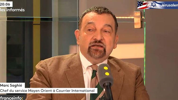 """MarcSaghié,chef du service Moyen-Orient à """"Courrier International"""", invité des """"Informés defranceinfo"""" lundi 14 mai. (FRANCEINFO)"""
