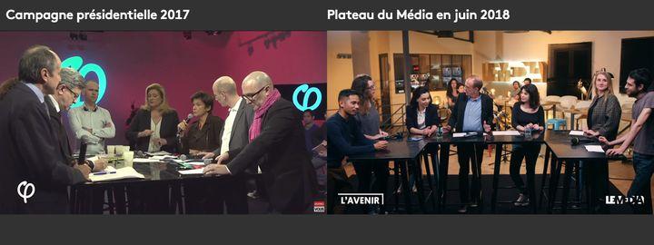 Les tables hautes et tabourets utilisés pendant la campagne présidentielle de Jean-Luc Mélenchon (à gauche) réutilisés sur le plateau du Média en 2018 (à droite). (CAPTURES D'ECRAN)