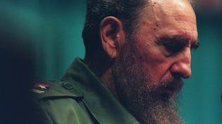 Le président cubain Fidel Castro prend la parole, le 8 janvier 1988, avant la visite du pape Jean-Paul II à La Havane. (ASSEMBLEE / SIPA)