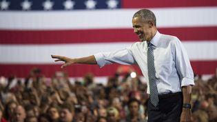 Barack Obama lors d'un meeting d'Hillary Clinton à Columbus (Ohio, Etats-Unis), le 1er novembre 2016. (TY WRIGHT / GETTY IMAGES NORTH AMERICA / AFP)