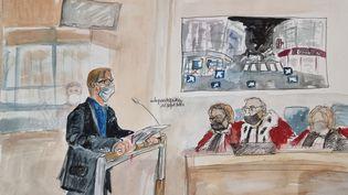 Au procès des attentats du 13-Novembre, le 16 septembre 2021, un enquêteur relate, ému, les premières constatations lors de son arrivée au restaurant Le Petit Cambodge et au bar Le Carillon. (ELISABETH DE POURQUERY / FRANCEINFO)