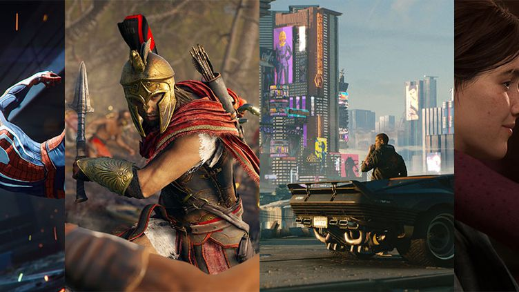 Cature des jeux vidéo (de G à D) Marvel's Spider-Man, Assassin's Creed Odyssey, Cyberpunk 2077 et The Last of Us, part II. (DR)