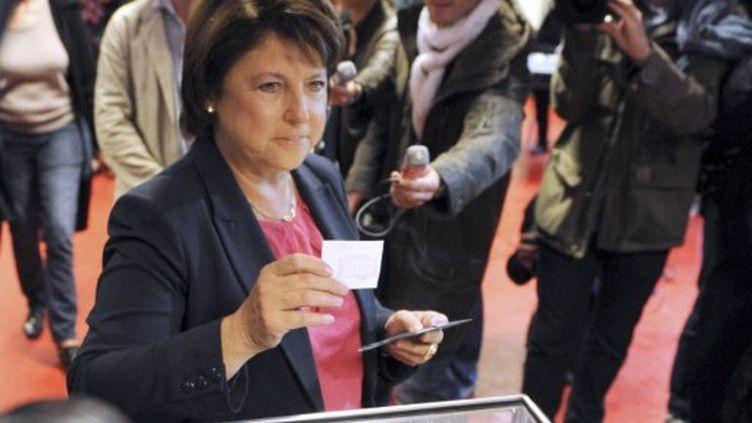 Martine Aubry votant dimanche à Lille. (DENIS CHARLET / AFP)