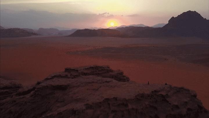Le désert du Wadi Rum à la tombée de la nuit.  (France 3 / Culturebox)