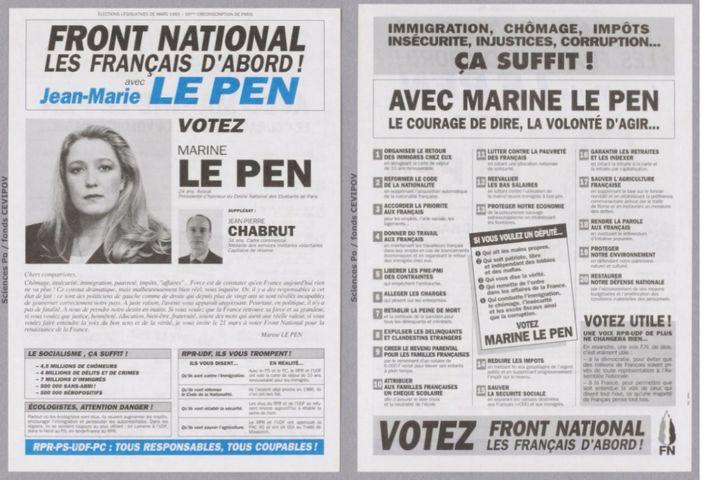 La profession de foi de Marine Le Pen pour le 1er tour des élections législatives de 1993 sur la 16e circonscription de Paris. (DR)