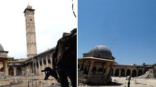 Le minaret de la Mosquée d'Omeyyades, sous l'oeil d'un rebelle, tel qu'il se tenait encore il y a peu... avant de disparaître le 24 avril 2013 comme le révèle une photo du site sinistré (25/04/2013)  (Dimitar Dilkoff / Jalal Al-Halabi / AFP)