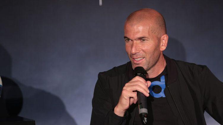 """(En conférence de presse, Zidane a assuré n'être """"pas pressé"""" de diriger l'équipe première du Real © MaxPPP)"""