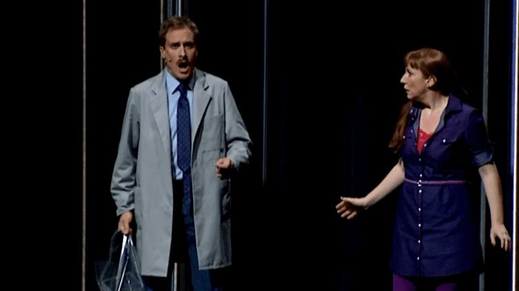 """Boris Grappe (Wozzeck) et Allison Oakes (Marie), les deux prinicpaux interprètes de """"Wozzeck""""  (France 3 Culturebox (capture vidéo))"""
