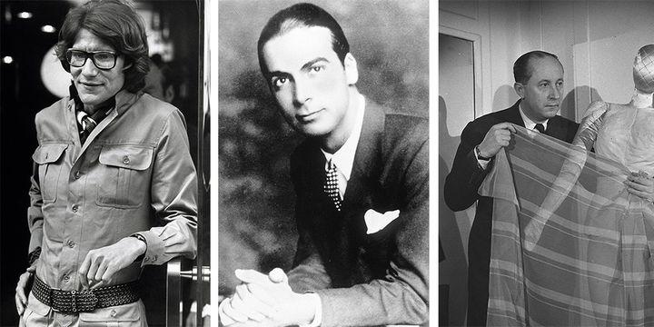 Les couturiers Yves Saint Laurent (1969), Cristobal Balenciaga et Christian Dior (1947) (de gauche à droite)  (united archives/dpa Picture-Alliance (Saint Laurent) LIDO/SIPA (Dior) et EFE AGENCIA/SIPA (Balenciaga))