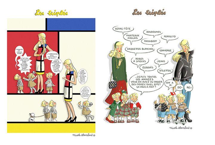 """La BD """"Les Triplés"""" de Nicole Lambert croque la mode dans l'exposition""""Mode et bande dessinée"""" qui se tientàAngoulême jusqu'au 5 janvier 2020 (CITE INTERNATIONALE DE LA BD ET DE L'IMAGE)"""