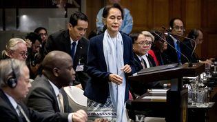 La dirigeante birmane, Aung San Suu Kyi, le 11 décembre 2019 à La Haye (Pays-Bas). (KOEN VAN WEEL / ANP / AFP)