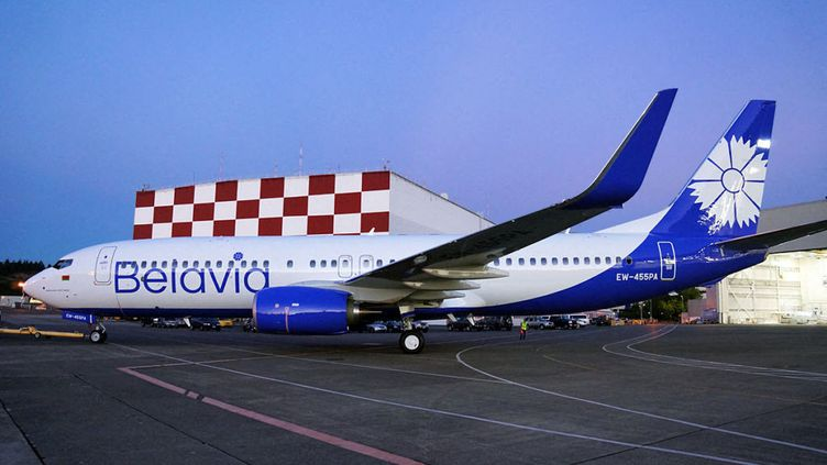 Un avion de la compagnie nationale biélorusse Belavia à l'aéroport international de Minsk, le 4 juin 2021. (EYEPRESS NEWS / AFP)