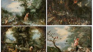 Photo de présentation des quatre toiles de Bruegel le Jeune vendues chez Mercier ce 28 mars 2021. (MERCIER & CIE)