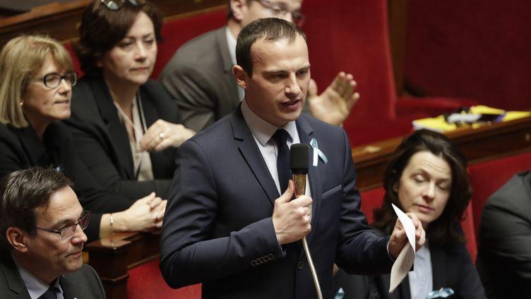 Fabien Di Filippo lors d'une séance de questions au gouvernement à l'Assemblée nationale le 3 avril 2018. (THOMAS SAMSON / AFP)