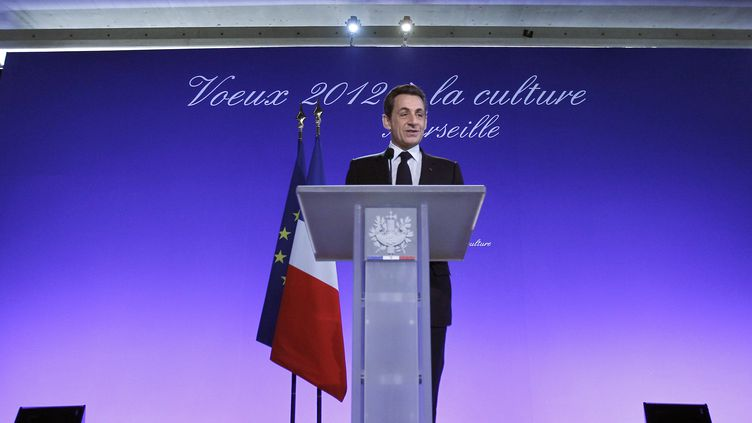 Nicolas Sarkozy lors de ses vœux au monde de la culture, le 24 janvier 2012 à Marseille. (GUILLAUME HORCAJUELO / AFP)