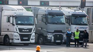 Des chauffeurs routiers bloquent l'autoroute A61 pour protester contre la hausse des taxes sur le diesel, le 7 décembre 2019 à Toulouse. (FR?D?RIC SCHEIBER / HANS LUCAS / AFP)