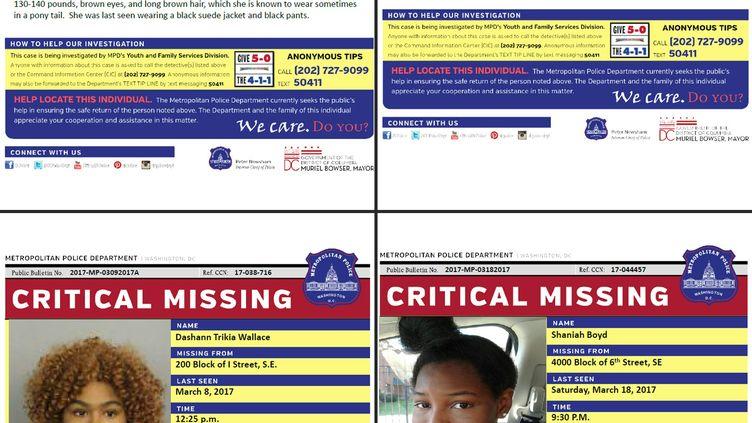 Avis de recherche diffusés par la police de Washington DC (Etats-Unis), sur la disparition de jeunes adolescentes, lundi 27 mars 2017. (WASHINGTON DC METROPOLITAN POLIC)