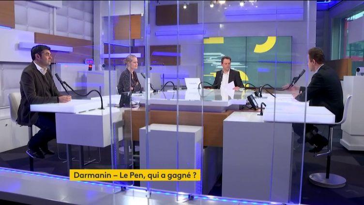 Les débatteurs autour deRenaud Délyet MarcFauvelle, vendredi 12 février,sontPaulinede SaintRémy, journaliste àPoliticoEuropeetSylvain Courage, rédacteur en chef à L'Obs. (FRANCEINFO)