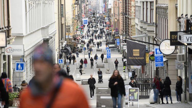 Une rue à Stockholm (Suède), le 27 mars 2020. (HENRIK MONTGOMERY / TT NEWS AGENCY / AFP)