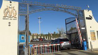 L'entrée du centre d'entraînement de l'OM, le 31 janvier 2021. (NICOLAS TUCAT / AFP)