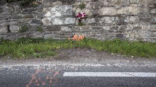 Un bouquet en hommage à un mort sur la route, près de Lyon (Rhône), le 25 octobre 2014. (JEAN-PHILIPPE KSIAZEK / AFP)