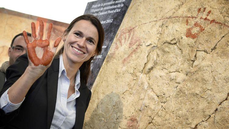 Aurélie Filippetti, ministre de la Culture, à Chauvet  (JEFF PACHOUD / AFP)