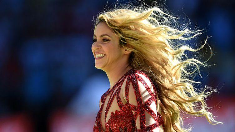 La chanteuse colombienne Shakira lors de la cérémonie de clôture de la Coupe du monde au Brésil, le 13 juillet 2014. (PEDRO UGARTE / AFP)