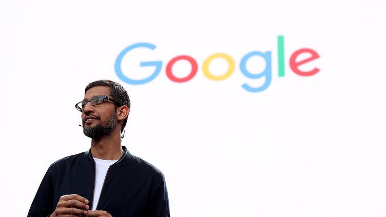 Le PDGde Google, Sundar Pichai, lors d'une conférence de presse à Mountain View (Californie, Etats-Unis), le 18 mai 2016. (JUSTIN SULLIVAN / GETTY IMAGES NORTH AMERICA / AFP)