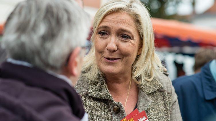 La présidente du FN, Marine Le Pen, sur le marché de Liévin (Pas-de-Calais), le 14 octobre 2015. (MAXPPP)