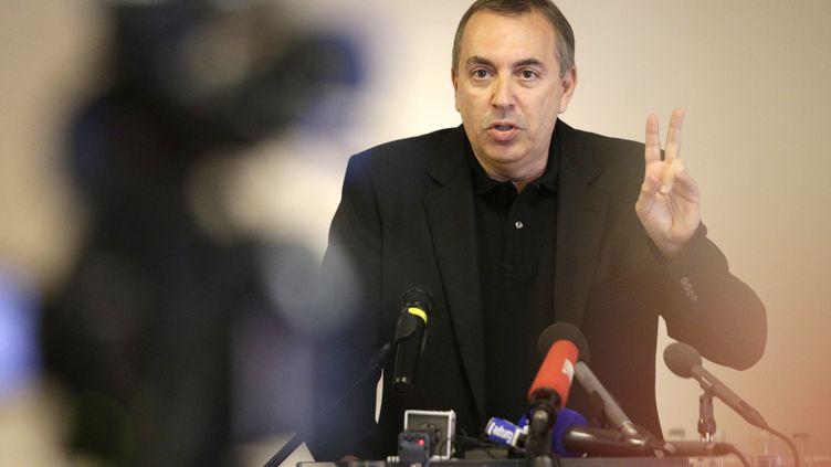 L'animateur Jean-Marc Morandini tient une conférence de presse, à Paris, le 19 juillet 2016. (GEOFFROY VAN DER HASSELT / AFP)
