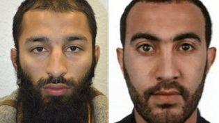 Ces photos non datées publiées le 5 juin 2017 par la police britannique montrentKhuram Shazad Butt (à gauche) et Rachid Redouane (à droite), deux des trois assaillants présumés dans l'attentat de Londres du samedi 3 juin 2017. (HANDOUT / METROPOLITAN POLICE / AFP)