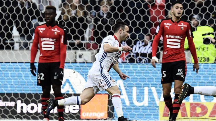 Mahtieu Valbuena, le milieu offensif de l'Olympique Lyonnais, buteur face à Rennes.