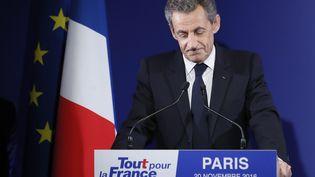 Nicolas Sarkozy, lors de son discours de défaite au 1er tour de la primaire de la droite et du centre, le 20 novembre 2016. (IAN LANGSDON / POOL / EPA POOL)