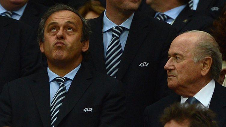 Michel Platini (président de l'UEFA), aux côtés de Sepp Blatter (président de la FIFA) (PATRIK STOLLARZ / AFP)