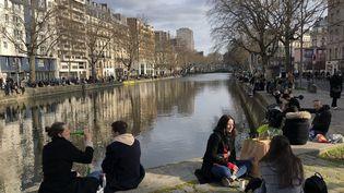 Les bords du canal de l'ourq (Paris), le 21 mars 2021. (SANDRINE MULAS / HANS LUCAS / AFP)