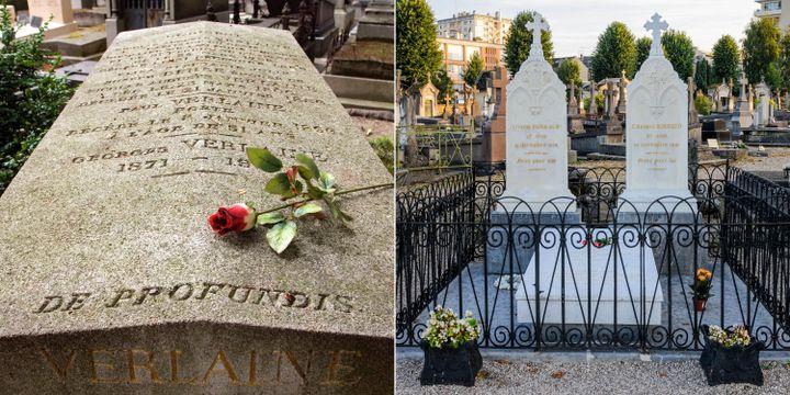 Les tombres de Paul Verlaine (G) au cimetière des Batignolles à Paris et Arthur Rimbaud (D) à Charleville-Mézière. (MATTES René / hemis.fr / Hemis via AFP // J-F ROLLINGER / ONLY FRANCE / Only France via AFP)