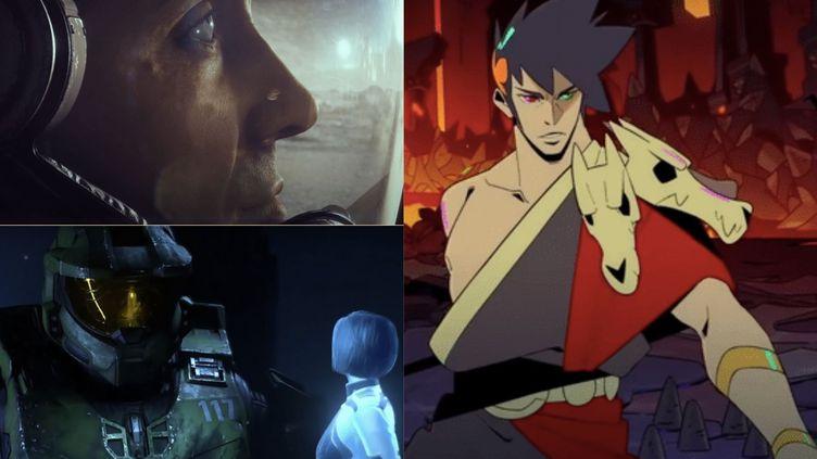 """Les jeux vidéos """"Starfield"""" ( en haut à gauche), """"Halo infinite"""" ( en bas à gauche) et """"Hadès"""" ( à droite). (FRANCEINFO)"""