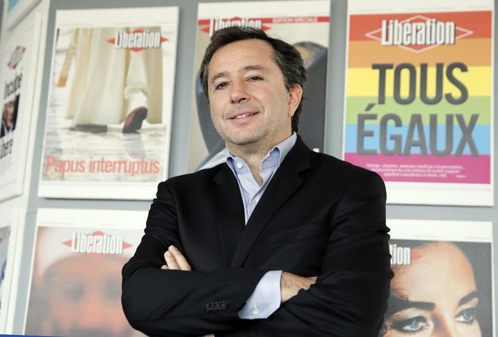 """Pierre Fraidenraich, nomménouveau directeur opérationnel de """"Libération"""", pose le 7 avril 2014 dans les locaux du journal. (PATRICK KOVARIK / AFP)"""