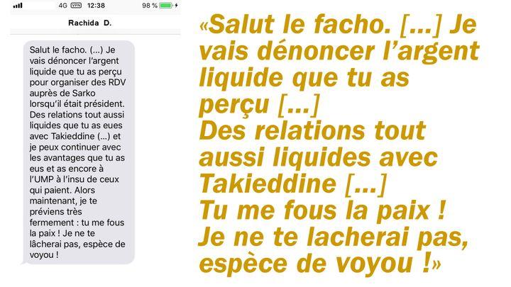 Reconstitution du SMS reçu par Brice Hortefeux de la part de Rachida Dati. (RADIO FRANCE)