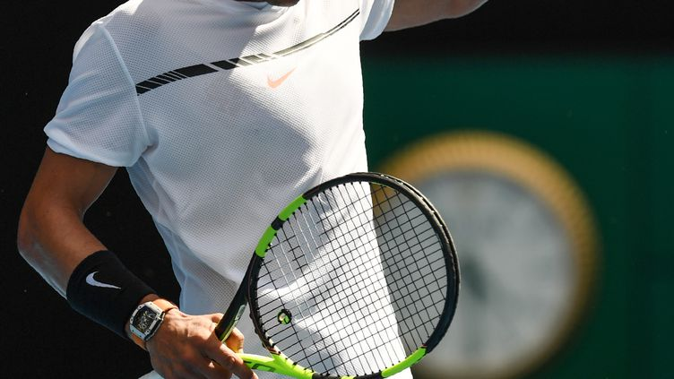 Rafael Nadal heureux après sa victoire (GREG WOOD / AFP)