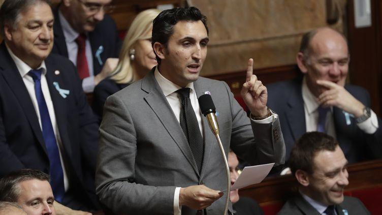 Le député Les Républicains du Vaucluse Julien Aubert, le 3 avril 2018 à l'Assemblée nationale. (THOMAS SAMSON / AFP)
