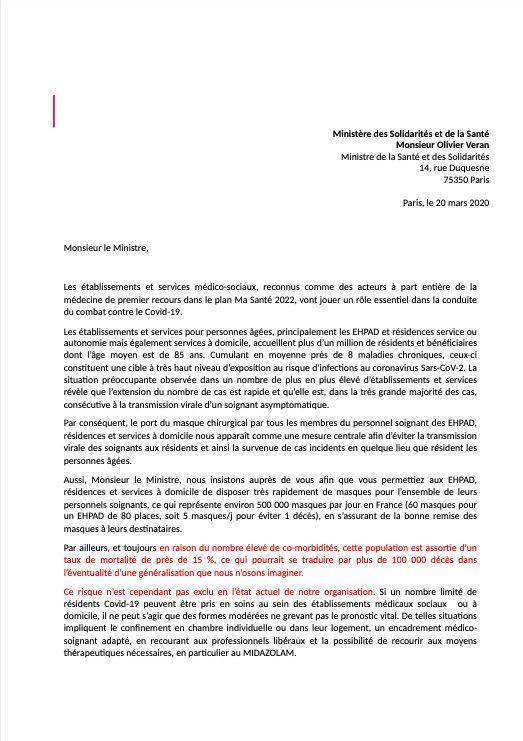 Extrait de la lettre adressée par le secteur de la gériatrie au ministère de la Santé sur la gestion du covid-A9, révélée par France Télévisions le 20 mars 2020. (DR)