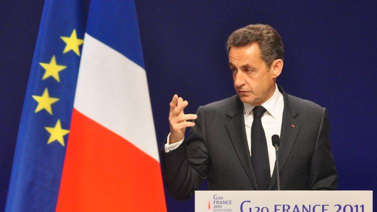 Le président de la République Nicolas Sarkozy, lors de la première journée du G20 à Cannes (Alpes-Maritimes), le 3 novembre 2011. (TANGUY HUGUES / CITIZENSIDE.COM / AFP)