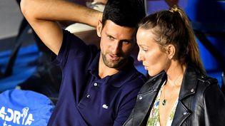 Novak Djokovicet safemme Jelena lors d'un match de l'Adria Tour, le tournoi de tennis caritatif de Novak Djokovic pour les Balkans, à Belgrade, le 14 juin 2020. (ANDREJ ISAKOVIC / AFP)