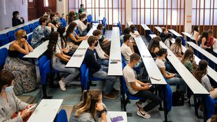 Des étudiants en cours dans unamphithéâtre, le 9 septembre 2020 à Pessac (Gironde). (VALENTINO BELLONI / HANS LUCAS / AFP)
