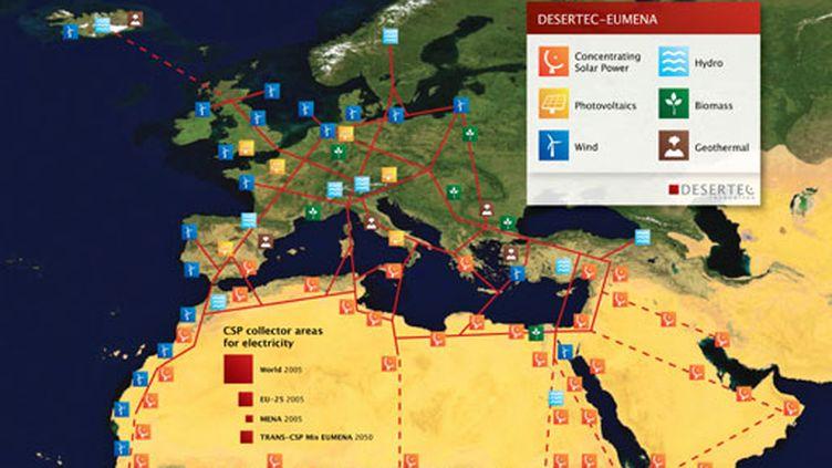 """Centrales solaires dispersées dans les déserts pour alimenter la zone """"EUMENA"""" (desertech)"""