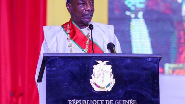 Le président de Guinée, Alpha Condé, à Conakry, le 15 décembre 2020. (CEM OZDEL / ANADOLU AGENCY / AFP)