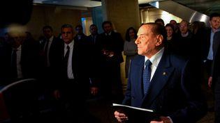 Silvio Berlusconi le 1er mars 2018 lors d'un meeting politique à Rome, en Italie. (MICHELE SPATARI / NURPHOTO)